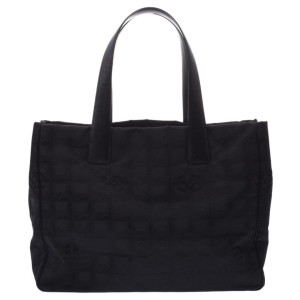 Chanel Line Mm 3c626 Black Canvas Tote