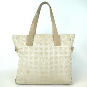 Chanel Line Travel Gm 872743 Beige Canvas Tote