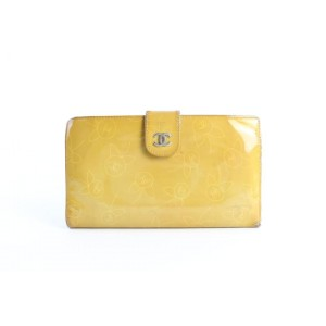 Chanel Long Flap Wallet 229902 Yellow Patent Leather Clutch