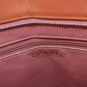 Chanel Quilted Salmon Medallion Zip 869033 Orange Patent Leather Tote