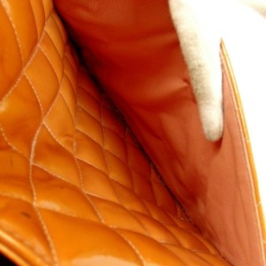 Chanel Medallion Zip Quilted Shopper 872543 Orange Patent Leather Tote