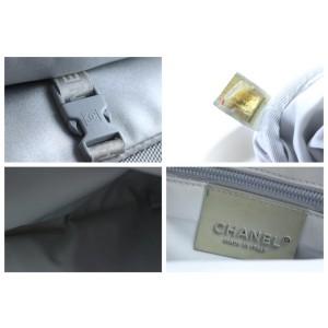 Chanel Messenger Cc Logo Metallic 226705 Silver Nylon X Canvas Cross Body Bag