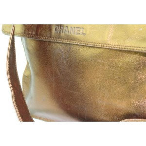 Chanel Messenger Metallic Lambskin Flat 7cz1016 Bronze Leather Cross Body Bag