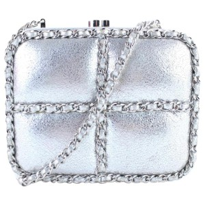 Chanel Metallic Minaudiere 1cr0115 Silver Leather Cross Body Bag