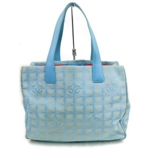 Chanel New Line 872439 Light Blue Canvas Tote