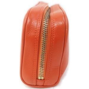 Chanel Orange Calfskin CC Button Line Cosmetic Pouch Toiletry Case 863191
