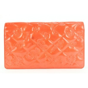 Chanel Orange Embossed Charms Patent Quilted Long Flap Wallet 218ccs210