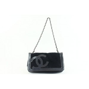 Chanel Perforated Chain Beach Flap 3cz1107 Black Terry Cloth Shoulder Bag