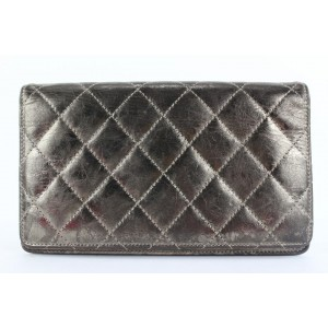Chanel Quilted Pewter Dark Silver Reissue Bifold Long Flap Wallet 921cas414