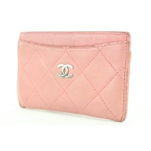 Chanel Pink Quilted Lambskin CC Card Holder Wallet 273ccs216