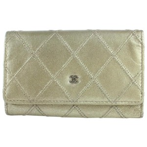 Chanel Gold Quilted 6 Key Holder Case 857025
