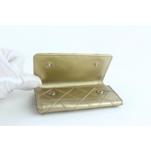 Chanel Quilted 6 Key Holder Case 16cz1025 Gold Leather Clutch