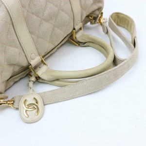 Chanel Quilted Boston with Strap 870314 Beige Linen Satchel