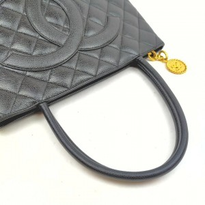 Chanel Quilted Black Caviar Medallion Tote Zip Bag 862763
