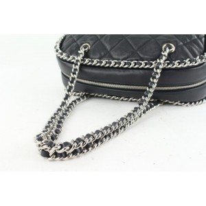 Chanel Black Quilted Leather Chain Around Bowler Bag