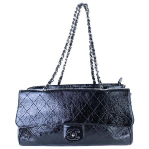 Chanel Quilted Kisslock Flap Tote 8cj017 Black X Silver Patent Leather Shoulder Bag