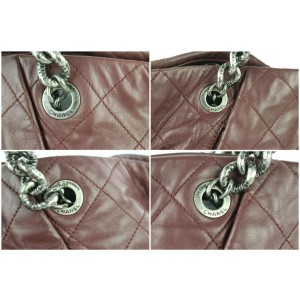 Chanel Quilted Mauve Charm Chain Tote 7ce0104 Burgundy Leather Shoulder Bag