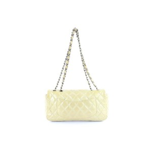 Chanel Quilted Patent Single Flap 220562 Ivory Leather Shoulder Bag