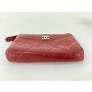 Chanel Red Quilted Lambskin Key Pouch Keychain 6cc519