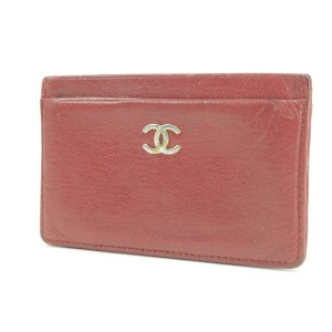 Chanel Card Case Red Leather CC Wallet Case 13CK0123