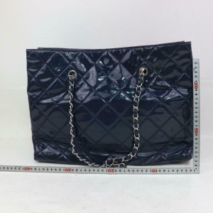 Chanel Shopping Bag Quilted Classic Chain Shopper 871505 Blue Patent Leather Tote