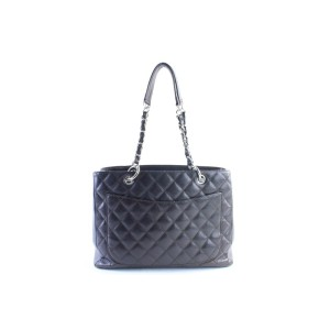 Chanel Shopping Tote Quilted Caviar Grand 11cr0628 Dark Brown Leather Shoulder Bag