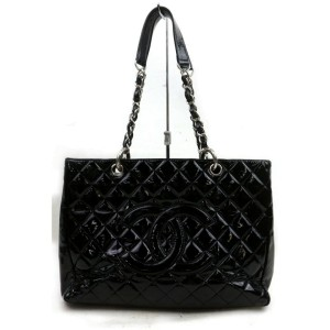Chanel Shopping Tote Quilted Gst Grand 871826 Black Patent Leather Shoulder Bag