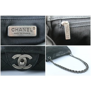 Chanel Soft Caviar Maxi Flap 4ct1012 Black Leather Cross Body Bag