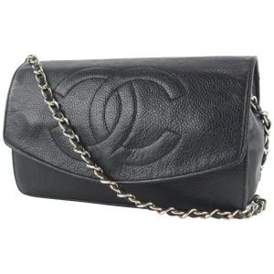 Chanel Black Caviar Leather CC Logo Timeless Wallet on Chain Flap Bag 816cas4