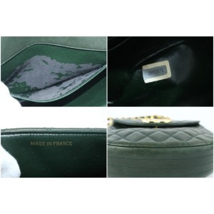 Chanel (Ultra Rare) Jumbo Logo Crescent Flap 17cz0717 Forest Green Leather Cross Body Bag