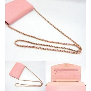 Chanel Pink Caviar CC Logo Wallet on Chain Flap Crossbody Bag  858272