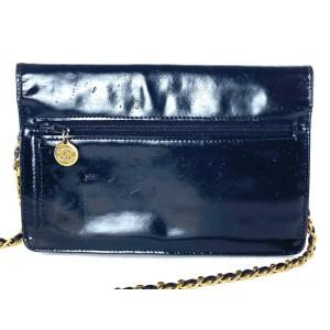 Chanel Wallet on Chain Classic Flap 17la528 Black Patent Leather Cross Body Bag