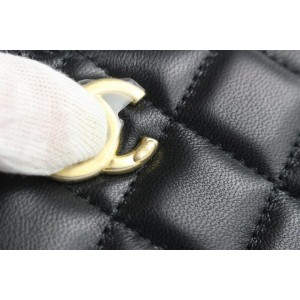 Chanel 21C Black Quilted Lambskin Pearl Nob Wallet on Chain Flap Bag P238cs21