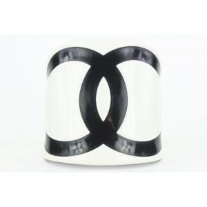 Chanel 019 Black x White CC Logo Cuff Bracelet Bangle  862637