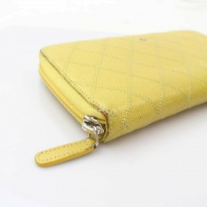 Chanel Yellow Long Quilted Caviar Leather Zip Around Continental 871091 Wallet