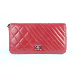 Chanel Zippy Boy Chevron Mix Quilted Zip Around Gusset Wallet 9ce0102 Red Leather Clutch