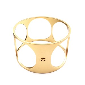 Chanel Gold Tone Holes Wide Cuff Bracelet