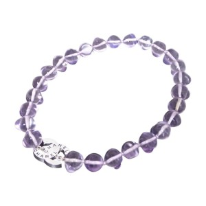 Chanel Silver Tone Metal Purple Glass Bead Necklace