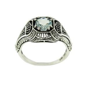 Sterling Silver Filigree Aquamarine Ring