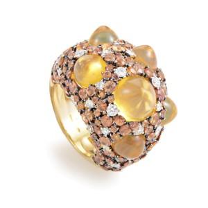 Chimento Moonrise 18K Yellow Gold Orange Gem & Diamond Ring