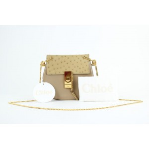 Chloé Drew Mini and Ostrich 825mt11 Beige Leather Cross Body Bag