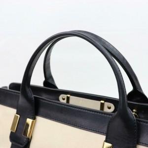 Chloé Duffle Bicolor Boston 870654 Black Leather Weekend/Travel Bag
