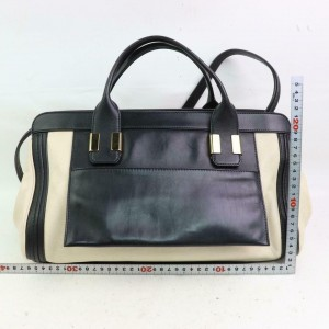 Chloé Duffle Bicolor Boston with Strap 870912 Black Leather Weekend/Travel Bag