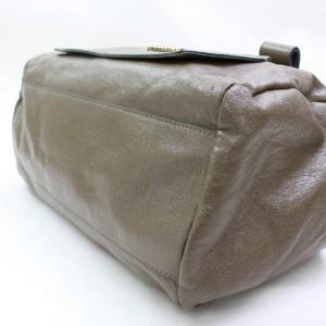 Chloé Logo Eclipse Boston 867213 Taupe/Brown Patent Leather Shoulder Bag