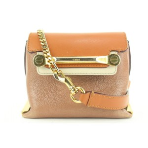 Chloé Brown x Orange Leather Mini Chain Crossbody Bag 35ch115