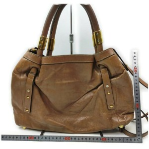 Chloé Brown Leather Victora 2way Tote Bag 862329