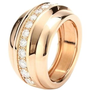 Chopard 18K Rose Gold and Diamonds Ring 829399 Size 6.75