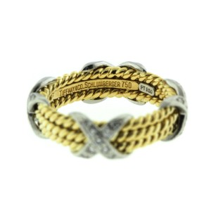 Tiffany & Co. Jean Schulmberger Platinum and Yellow Gold Diamond X Ring