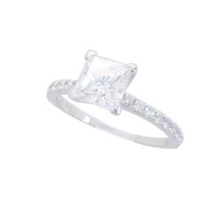 18K White Gold GIA Certified Princess Cut Diamond Ring