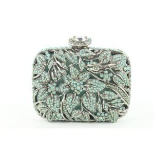 Clara Kasavina Green Beaded Stone Crystal Minaudiere Clutch 77ck426